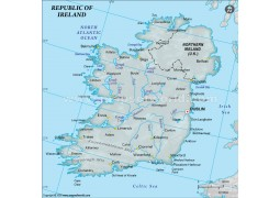 Ireland Physical Map with Cities in Gray Color