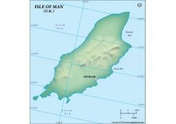 Isle of Man (Mann) Blank Map, Dark Green