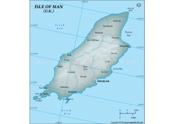 Isle of Man Physical Map, Gray