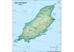 Isle of Man Political Map, Dark Green