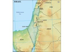 Israel Blank Map in Dark Green Background
