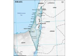 Israel Physical Map in Gray Color
