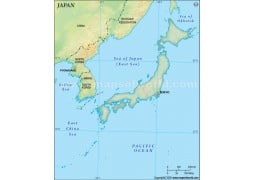 Japan Blank Map, Dark Green Background