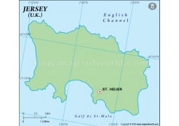 Jersey Outline Map in Green Color