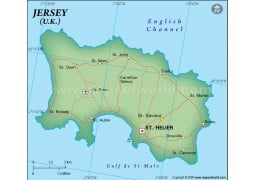 Jersey Political Map in Dark Green Color