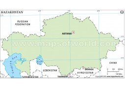 Kazakhstan Outline Map in Green Color
