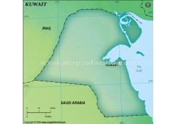 Kuwait Blank Map, Dark Green