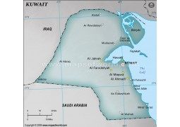 Kuwait Physical Map, Gray
