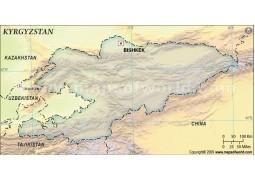 Kyrgyzstan Blank Map, Dark Green