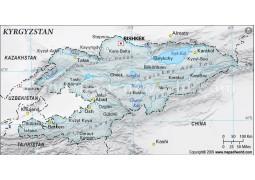 Kyrgyzstan Physical Map, Gray