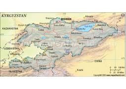 Kyrgyzstan Political Map, Dark Green Color