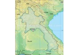 Laos Blank Dark Green Map
