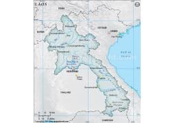 Laos Physical Map, Gray