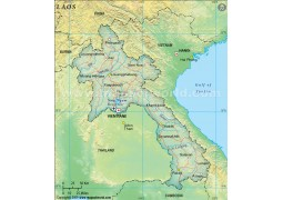 Laos Political Map, Dark Green