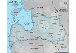 Latvia Physical Map, Gray