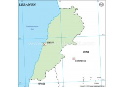 Lebanon Outline Map, Green