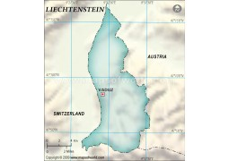 Liechtenstein Blank Map, Dark Green
