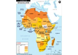 Life Expectancy at Birth in African Countries Map