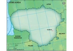 Lithuania Blank Map, Dark Green