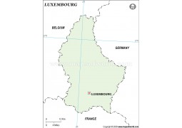 Luxembourg Outline Map in Green Color