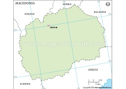 Macedonia Outline Map, Green