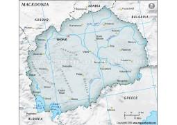 Macedonia Map, Gray Color