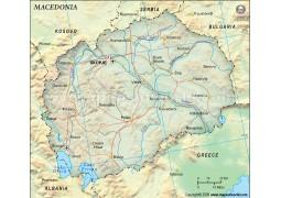 Macedonia Political Map, Dark Green