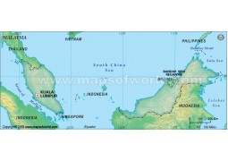 Malaysia Blank Map, Dark Green