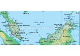 Malaysia Political Map, Dark Green
