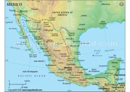 Mexico Physical Map (Green Background)