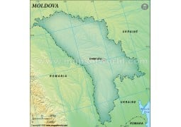 Moldova Blank Map, Dark Green