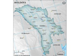 Moldova Map with Cities, Gray