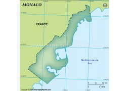 Monaco Blank Map, Dark Green