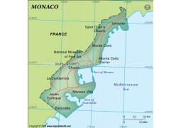 Monaco Map, Dark Green