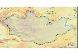Mongolia Blank Map, Dark Green