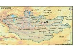 Mongolia Political Map, Dark Green