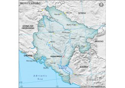 Montenegro Physical Map, Gray
