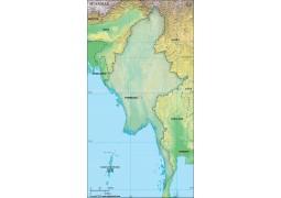 Myanmar Blank Map, Dark Green