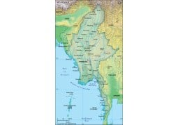 Myanmar Political Map, Dark Green