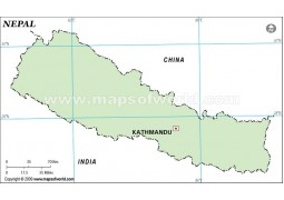 Nepal Outline Map in Green Color