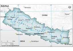 Nepal Physical Map with Cities in Gray Color