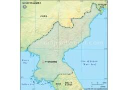 North Korea Blank Map in Dark Green Background