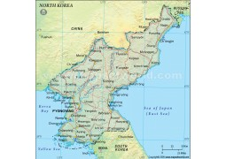 North Korea Political Map, Dark Green