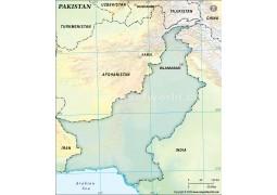Pakistan Blank Map, Dark Green