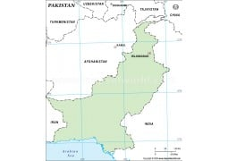Pakistan Outline Map, Green