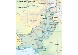 Pakistan Political Map, Dark Green