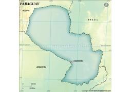 Paraguay Blank Map, Dark Green