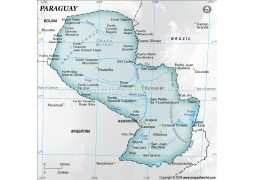 Paraguay Physical Map, Gray