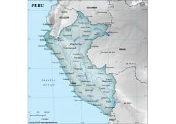 Peru Physical Map, Gray
