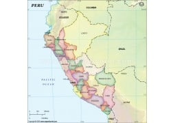 Peru Political Map with States